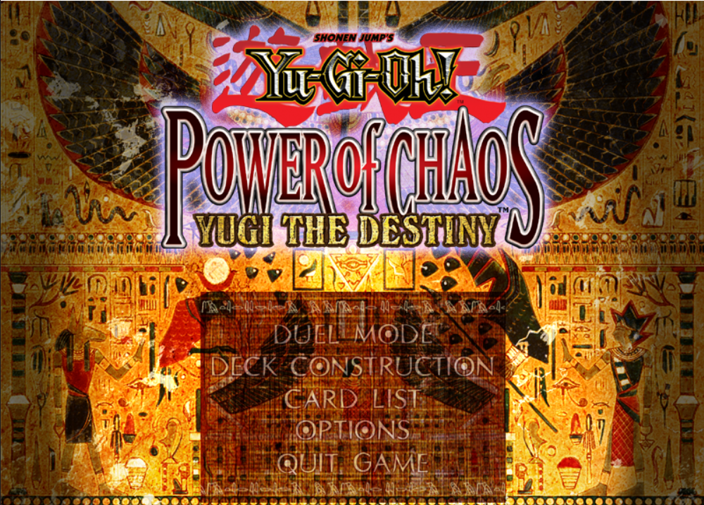 YU GI OH POWER OF CHAOS YUGI THE DESTINY game title